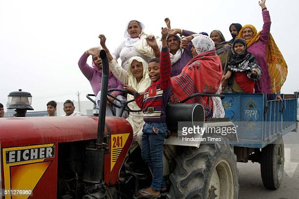Members of the Jat community block DelhiFazilka National Highway No10 passing through Sampla township to further intensify their protest on February...