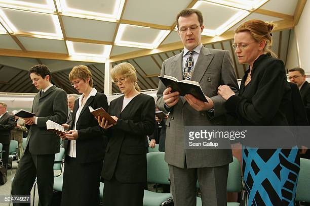 Members of the Jehova's Witnesses Church sing during a religious service March 24 2005 in Hennigsdorf Germany just outside of Berlin A Berlin court...