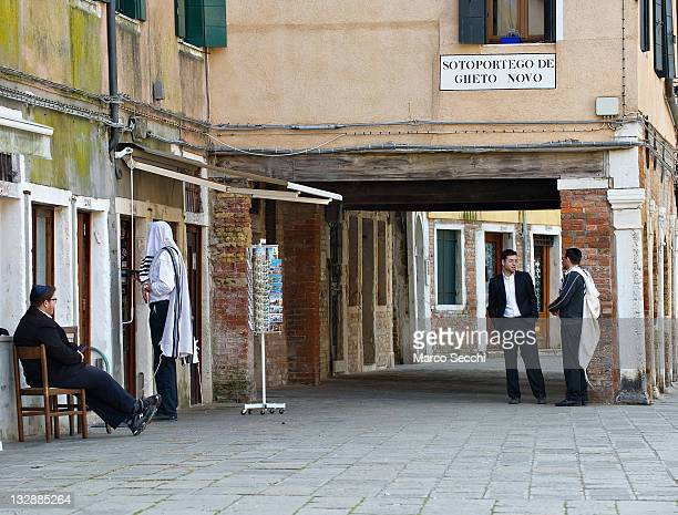 Members of the Jewish community are seen in the main 'campo' of the Ghetto on November 15 2011 in Venice Italy Established in 1516 the Ghetto of...