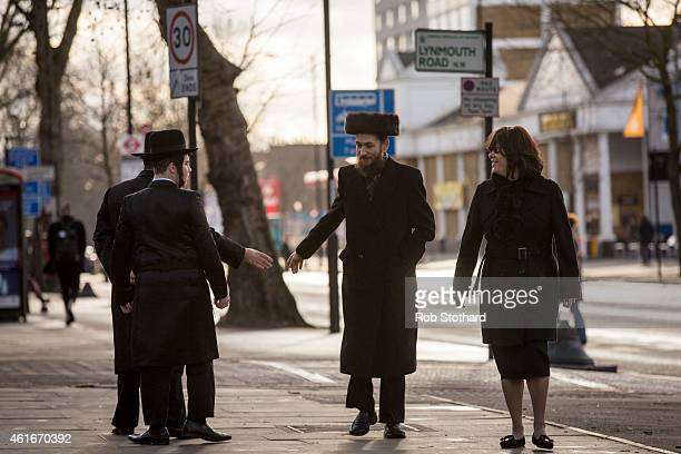 Members of the Jewish community greet each other in the Stamford Hill area on January 17 2015 in London England Police have announced they will...