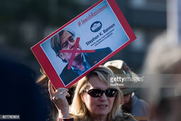 Members of the Jewish group IfNotNow and their allies protest Breitbart News and Stephen Bannon Beverly Hills California December 4 2016 The...