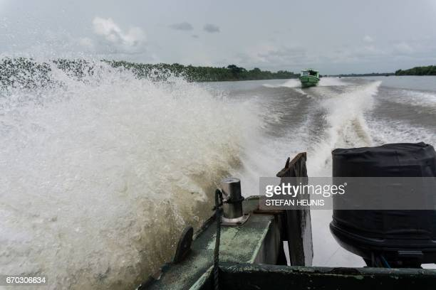 Members of the Joint Task Force Operation Delta Safe is seen on patrol in the creeks looking for illegal oil refineries on April 19 2017 in the Niger...
