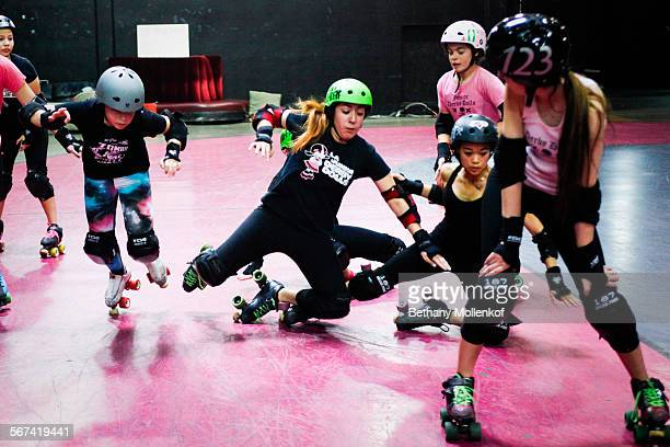 Members of the junior roller derby dolls practice their technique at the Doll Factory in Echo Park on February 15 2014 The LA Derby Dolls need to...