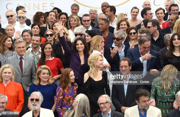 Members of the jury actors dignitaries and guest attend the 70th Anniversary photocall during the 70th annual Cannes Film Festival at Palais des...