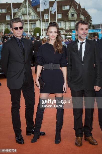 Members of the jury Eric Lartigau Benjamin Biolay and Charlotte Le Bon arrive at the closing ceremony of the 43rd Deauville American Film Festival on...