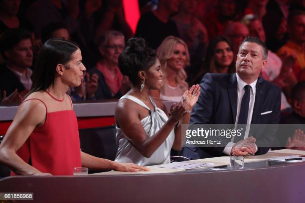 Members of the jury Jorge Gonzalez Motsi Mabuse and Joachim Llambi are seen during the 3rd show of the tenth season of the television competition...