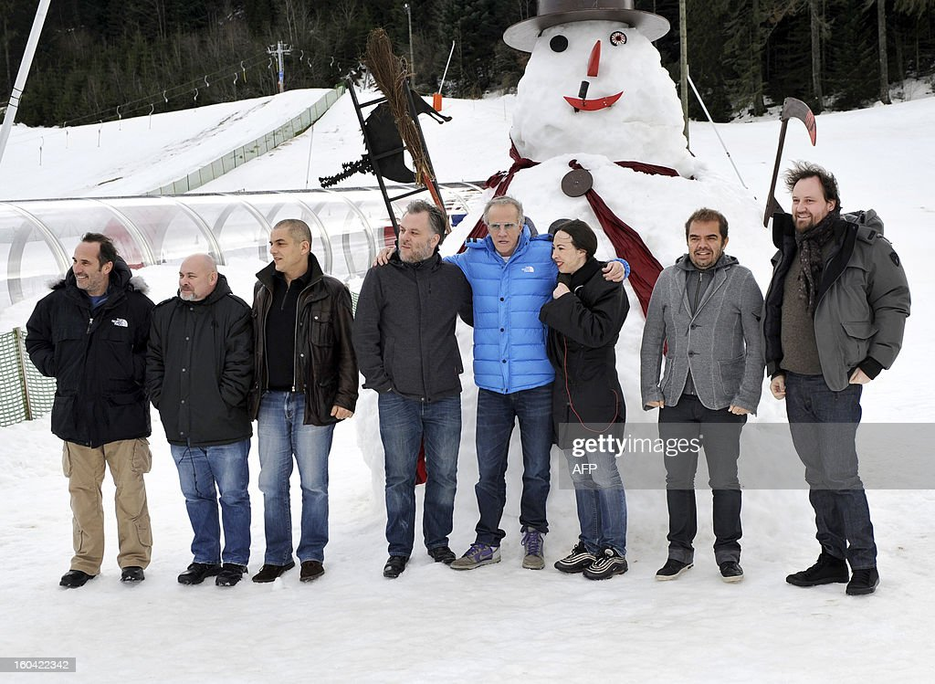 Members of the jury of the 20th International Fantastic film festival 'Fantastic'Arts', French director and screenwriter Pitof, French director, actor, screenwriter and artist Marc Caro, French director and screenwriter Nicolas Boukhrief, French director Paul Laugier, French actor and president of the jury Christophe Lambert, French director and screenwriter Marina De Van, French director Xavier Gens and French director Xavier Palud pose on January 31, 2012 in Gerardmer, eastern France. The Gerardmer film festival will run, for its 20th year, from January 30 to February 3, 2013.