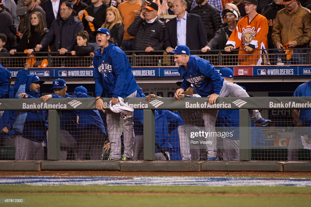 Members of the Kansas City Royals react to defeating the San Francisco Giants in Game 3 of the 2014 World Series against the at AT&T Park on Friday, October 24, 2014 in San Francisco, California.
