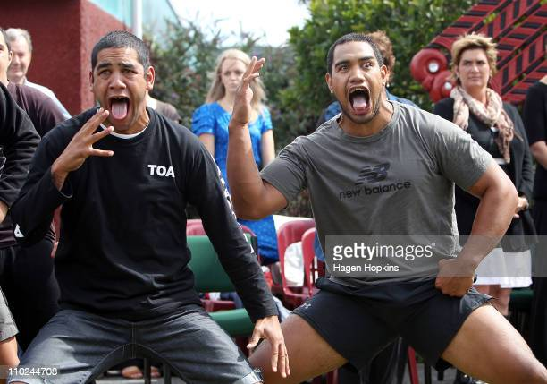 Members of the Kapa Haka group perform the Haka during a signing ceremony to announce the ageement between Ngati Toa and the New Zealand Rugby Union...