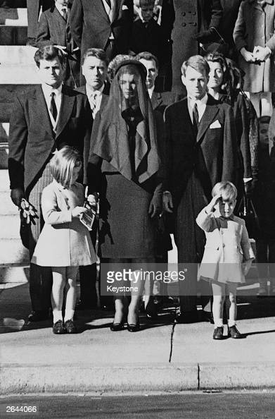 Members of the Kennedy family at the funeral of assassinated president John F Kennedy at Washington DC From left Senator Edward Kennedy Caroline...