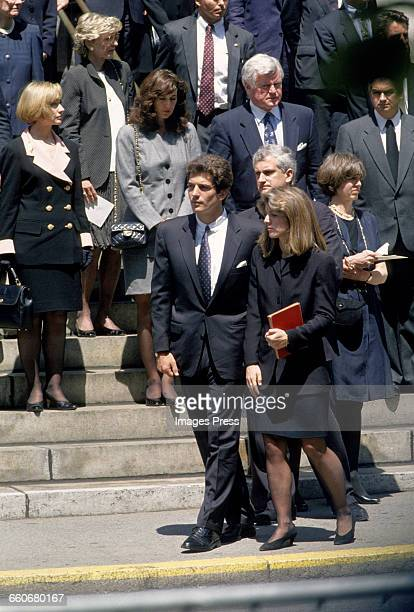 Members of the Kennedy family including John F Kennedy Jr Caroline Kennedy Edwin Schlossberg and Ted Kennedy attends the funeral of Jacqueline...