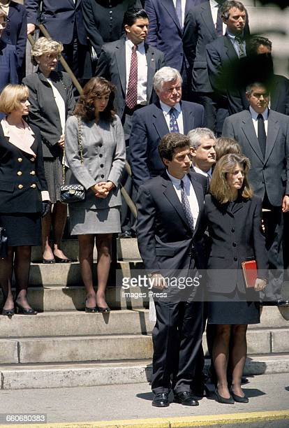 Members of the Kennedy family including John F Kennedy Jr Caroline Kennedy and Ted Kennedy attends the funeral of Jacqueline Kennedy Onassis at St...