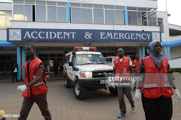 Members of the Kenyan Red Cross gather outside the accident and emergency unit to receive victims of the attack on a Kenyan university Garissa...