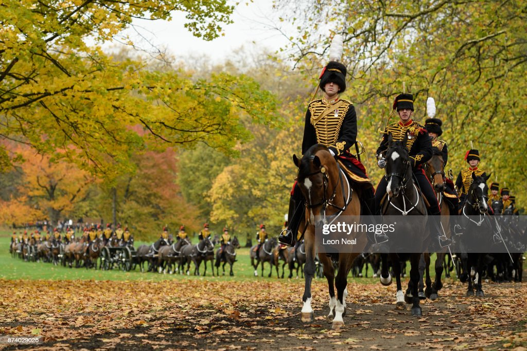 Members of the King's Troop Royal Horse Artillary leave the area after taking part in a 41-gun salute to mark the 69th birthday of the Prince of Wales at Green Park on November 14, 2017 in London, England. Six First World War-era 13 pounder Field Guns were used to fire the salute, while another gun salute took place at the Tower of London.