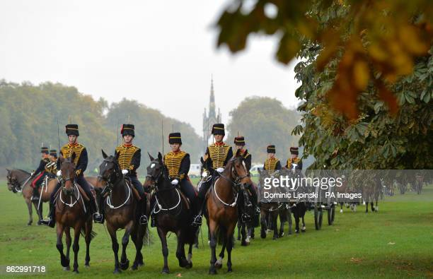 Members of the King's Troop Royal Horse Artillery in Hyde Park in London to mark the 70th anniversary of the Troop