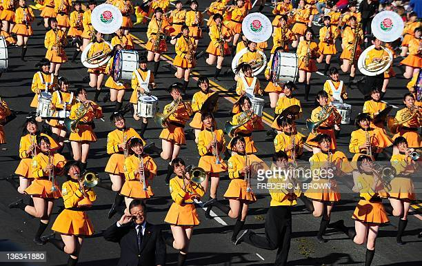 Members of the Kyoto Tachibana Senior High School band march and perform during the annual Tournament of Roses Parade in Pasadena on January 2 2012...