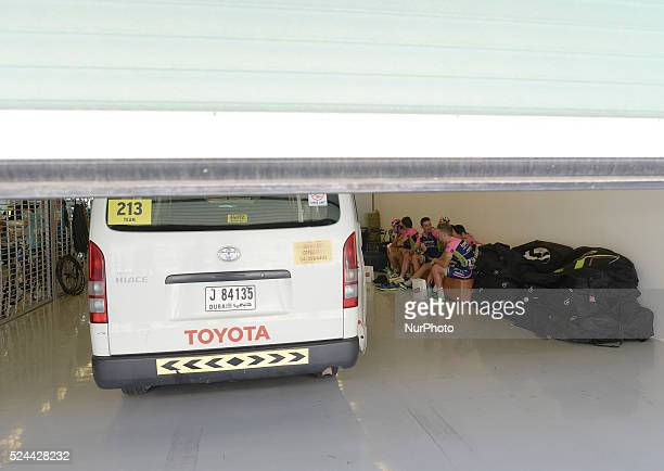 Members of the Lampre Merida Team at Formula One Yas Marina Circuit ahead of The Capital second stage of the 2015 Abu Dhabi Tour the 129 km from Yas...