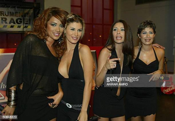 Members of the Lebanese 'Four Cats' group Maya Diab Joyce Asmar Dalida Shammai and Raya Shammai pose during the promotion of their newly released CD...