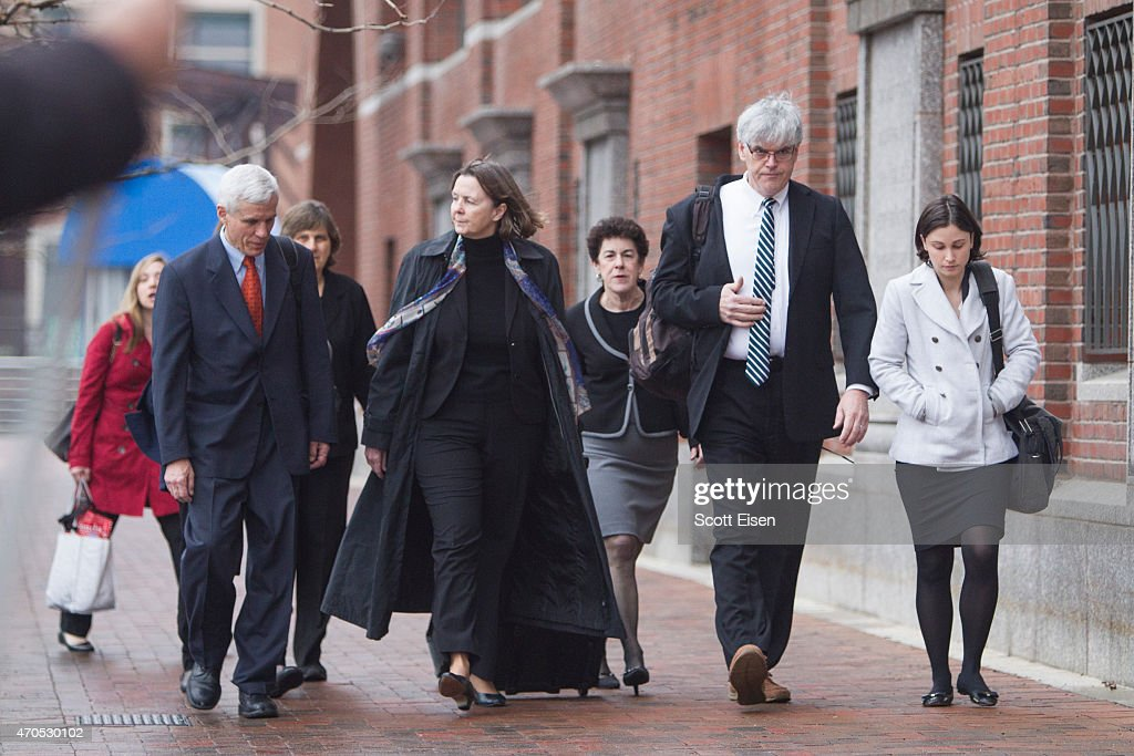 Members of the legal defense team for Boston Marathon bombing suspect Dzhokhar Tsarnaev, including David Bruck, (from left), Judy Clarke, Miriam Conrad, and Timothy G. Watkins arrive at John Joseph Moakley United States Courthouse during the first day of the sentencing phase of the Boston Marathon Bomber Trial on April 21, 2015 in Boston, Massachusetts. Dzhokar Tsarnaev, 21, was found guilty on all 30 counts related to to his involvement in the 2013 bombing, which related in three deaths and over 250 injuries.