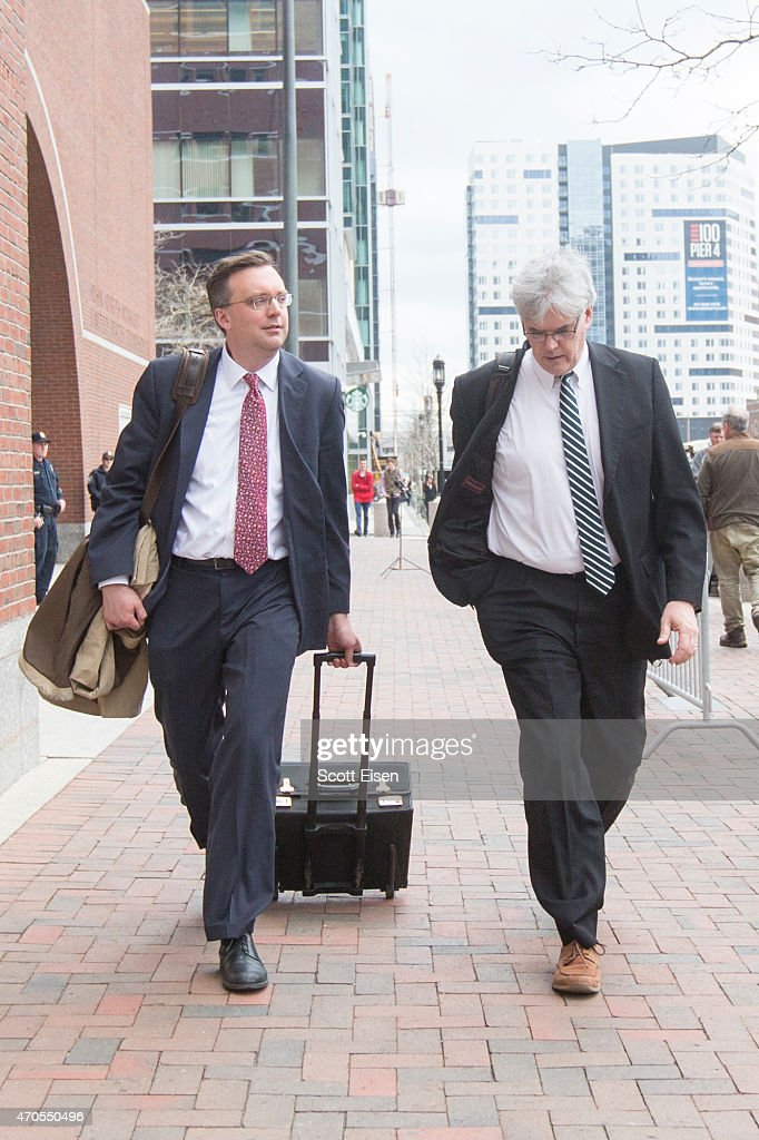 Members of the legal defense team for Boston Marathon bombing suspect Dzhokhar Tsarnaev, including William Fick (L) and Timothy G. Watkins walk away from John Joseph Moakley United States Courthouse during the first day of the sentencing phase of the Boston Marathon Bomber Trial on April 21, 2015 in Boston, Massachusetts. Dzhokar Tsarnaev, 21, was found guilty on all 30 counts related to to his involvement in the 2013 bombing, which related in three deaths and over 250 injuries.