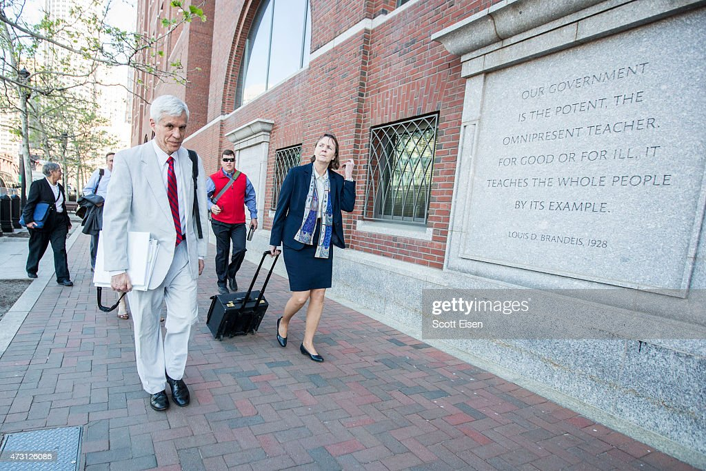 Members of the legal defense team for Boston Marathon bombing suspect <a gi-track='captionPersonalityLinkClicked' href=/galleries/search?phrase=Dzhokhar+Tsarnaev&family=editorial&specificpeople=10845349 ng-click='$event.stopPropagation()'>Dzhokhar Tsarnaev</a>, including David Bruck, (L) and Judy Clarke (R) arrive at John Joseph Moakley United States Courthouse before closing arguments begin in the Boston Bomber Trial on May 13, 2015 in Boston, Massachusetts. Dzhokar Tsarnaev was found guilty on all 30 counts related to his involvement in the 2013 bombing, which resulted in three deaths and over 250 injuries.