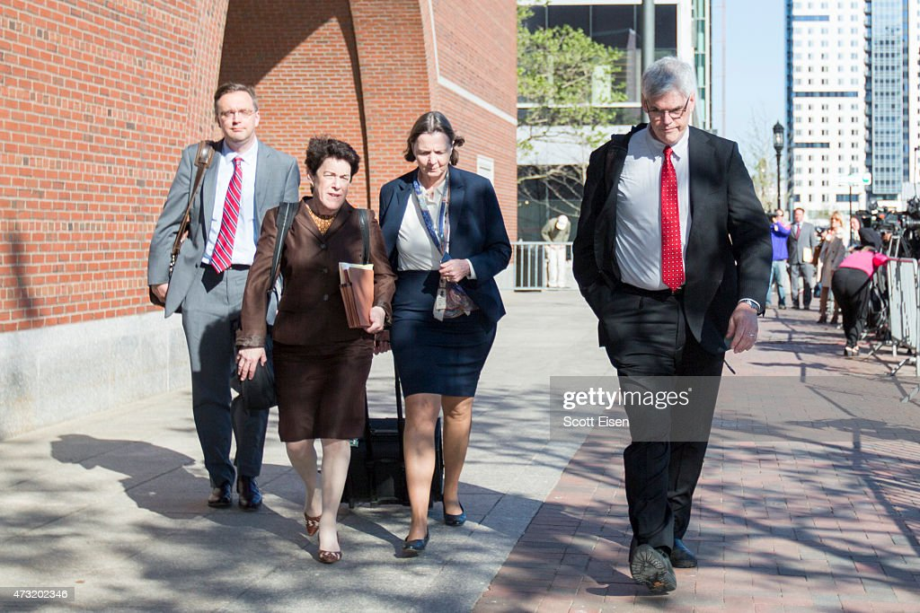 Members of the legal defense team for Boston Marathon bombing suspect Dzhokhar Tsarnaev, including William Fick (from left), Miriam Conrad, Judy Clarke and Timothy Watkins leave John Joseph Moakley United States Courthouse after the beginning of jury deliberations in the sentencing phase of the Boston Bomber Trial on May 13, 2015 in Boston, Massachusetts. Dzhokar Tsarnaev was found guilty on all 30 counts related to his involvement in the 2013 bombing, which resulted in three deaths and over 250 injuries.
