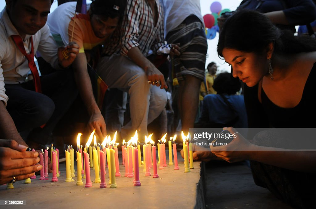 Members of the Lesbian, Gay, Bisexual and Transgender (LGBT) community took a candlelight march in protest against the mass shooting in Orlando Gay nightclub and demanded support and solidarity for victims of attack, on June 25, 2016 in Gurgaon, India. Omar Mateen, an Afghan-born gunman killed at least 49 people at a gay nightclub in the American city on June 12.