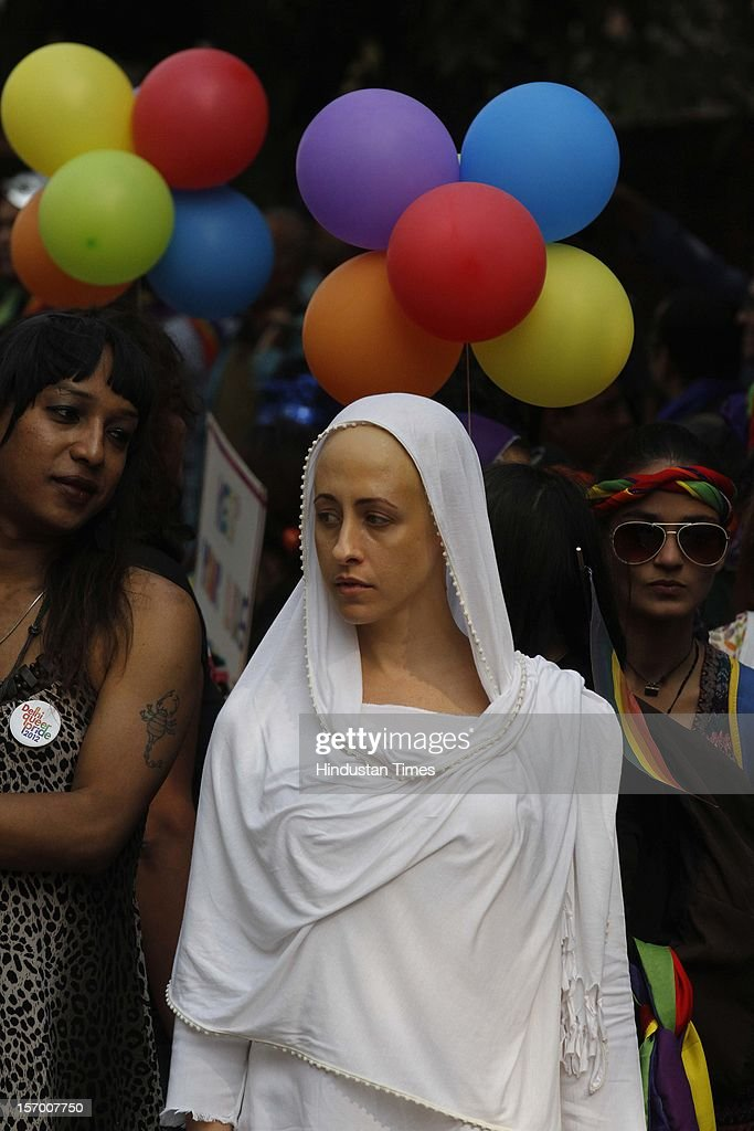 Members of the lesbian, gay, bisexual, transgender (LGBT) community and supporters attend the 5th Delhi Queer Pride parade on November 25, 2012 in New Delhi, India. Marching in solidarity and in celebration of their diversity, the LGBT community demanded equal legal, social and medical rights.