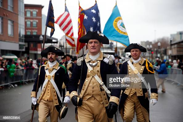 Members of the Lexington Minutemen march during the St Patrick's Day Parade in the South Boston neighborhood on March 15 2015