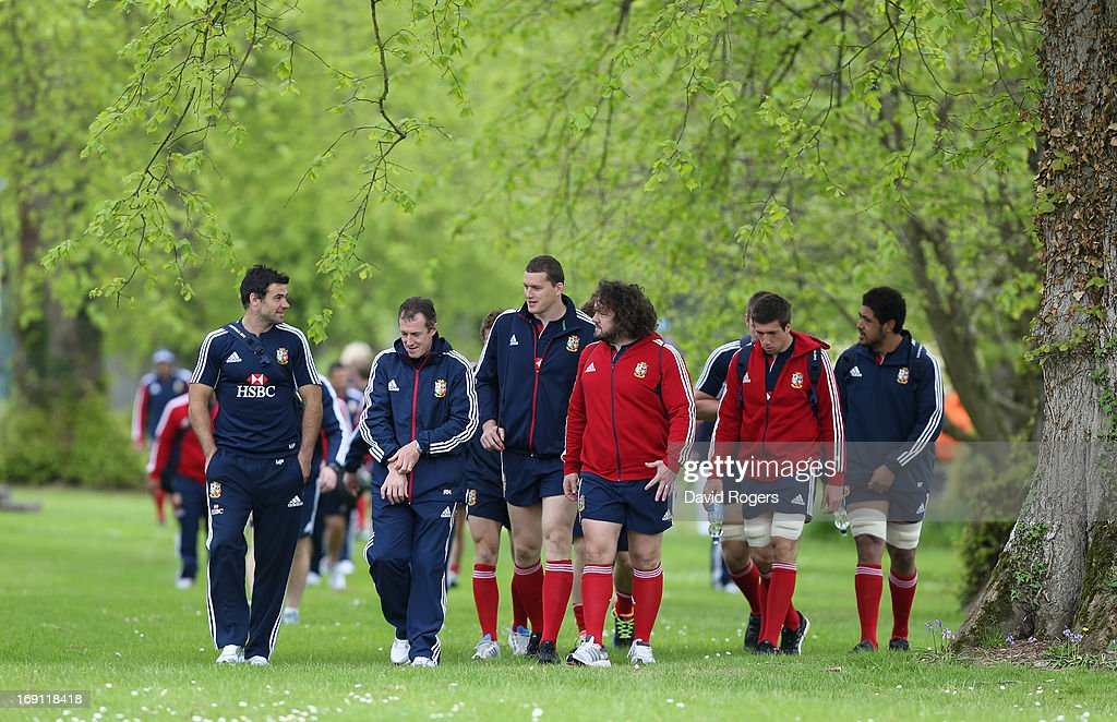 Members of the Lions squad walk to training during the British and Irish Lions media session held at Carton House on May 20, 2013 in Maynooth, Ireland.