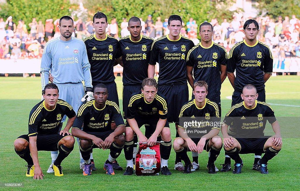 Members of the Liverpool team line up for a team photograph (L-R back row) <a gi-track='captionPersonalityLinkClicked' href=/galleries/search?phrase=Diego+Cavalieri&family=editorial&specificpeople=5441023 ng-click='$event.stopPropagation()'>Diego Cavalieri</a>, Daniel Ayala, David Ngog, Martin Kelly, Nathan Eccleston and <a gi-track='captionPersonalityLinkClicked' href=/galleries/search?phrase=Alberto+Aquilani&family=editorial&specificpeople=790932 ng-click='$event.stopPropagation()'>Alberto Aquilani</a>, (L-R front row) <a gi-track='captionPersonalityLinkClicked' href=/galleries/search?phrase=Philipp+Degen&family=editorial&specificpeople=534432 ng-click='$event.stopPropagation()'>Philipp Degen</a>, David Amoo, Lucas Leiva, <a gi-track='captionPersonalityLinkClicked' href=/galleries/search?phrase=Stephen+Darby&family=editorial&specificpeople=677119 ng-click='$event.stopPropagation()'>Stephen Darby</a> and <a gi-track='captionPersonalityLinkClicked' href=/galleries/search?phrase=Jay+Spearing&family=editorial&specificpeople=4246743 ng-click='$event.stopPropagation()'>Jay Spearing</a> before a pre-season friendly match between Grasshopper Club Zurich and Liverpool at Stadion Hertiallmend on July 21, 2010 in Zug, Switzerland.