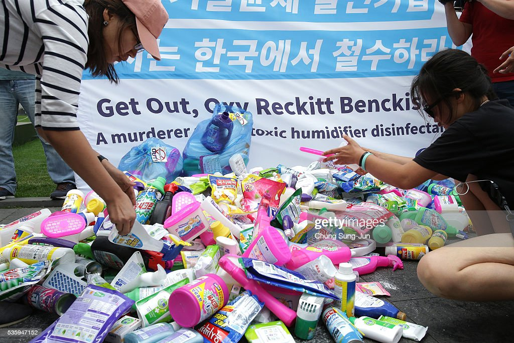 Members of the local civic group Korea Federation for Environmental Movements collect goods from Oxy Reckitt Benckiser at Oxy headquarter on May 31, 2016 in Seoul, South Korea. Protesters hold a anti-Oxy Reckitt Benckiser rally to launch a boycott campaign against the British firm's products in front of Oxy headquarter in South Korea.