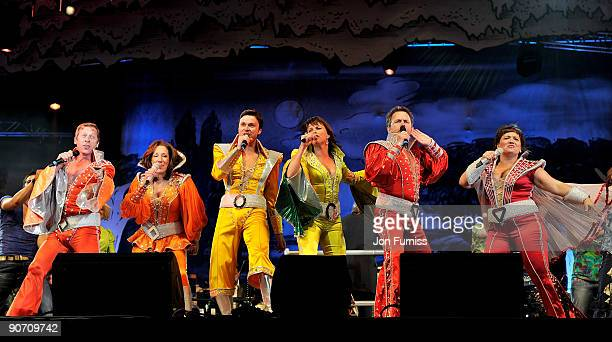 Members of the London cast of Mamma Mia perform on stage at 'Thank You For The Music' at Hyde Park on September 13 2009 in London England