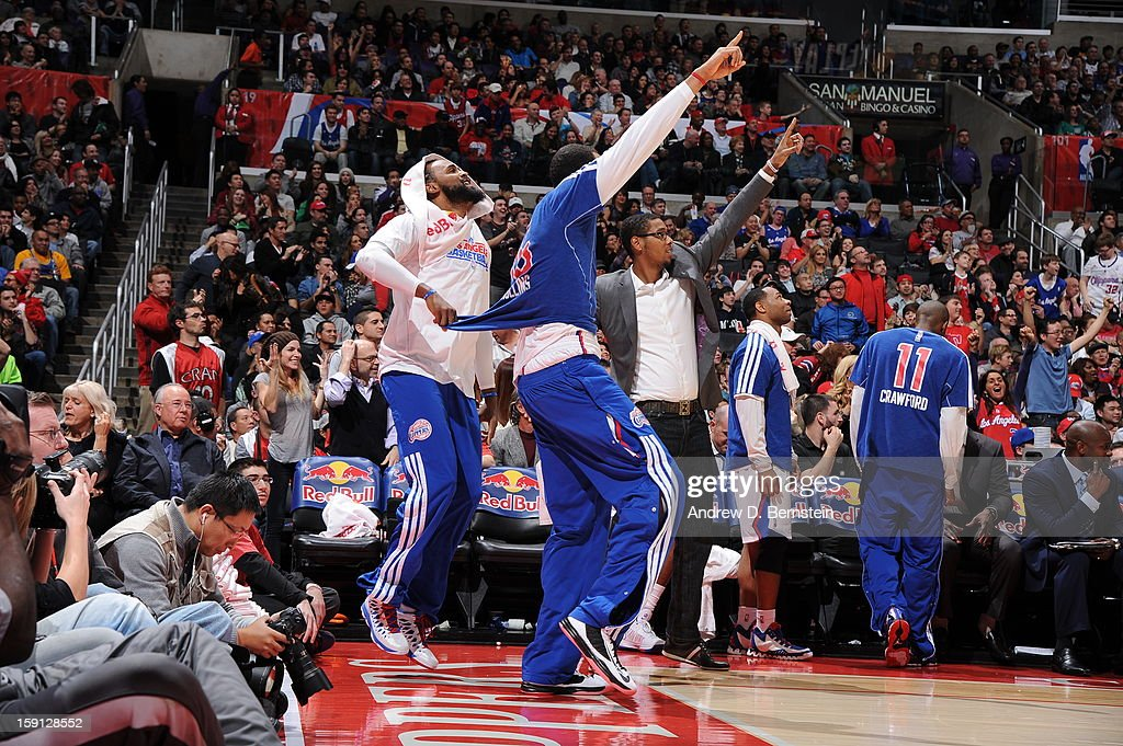 Members of the Los Angeles Clippers celebrate a play during the game against the Golden State Warriors at Staples Center on January 5, 2013 in Los Angeles, California.