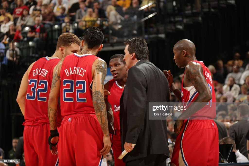 Members of the Los Angeles Clippers get direction during a timeout against the Indiana Pacers on February 28, 2013 at Bankers Life Fieldhouse in Indianapolis, Indiana.