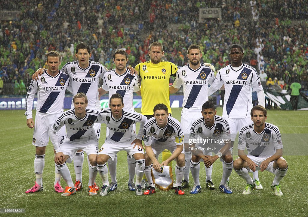 Members of the Los Angeles Galaxy pose for the team photo prior to the match against the Seattle Sounders FC during Leg 2 of the Western Conference Championship at CenturyLink Field on November 18, 2012 in Seattle, Washington. The Galaxy defeated the Sounders 2-1, winning the aggregate playoff 4-2.