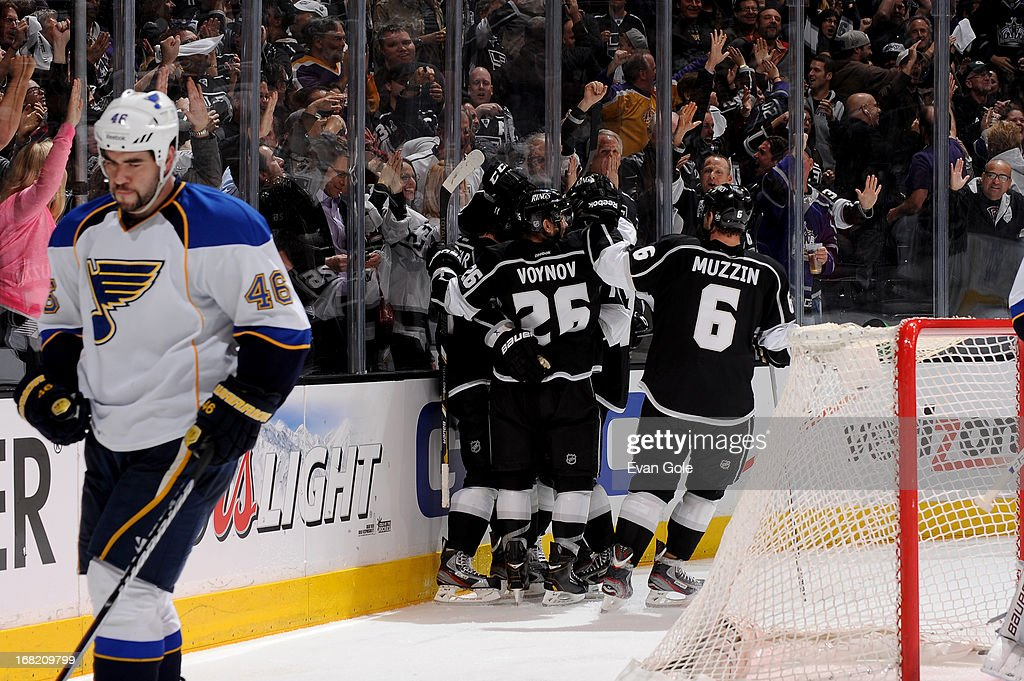 Members of the Los Angeles Kings celebrate a goal against the St. Louis Blues in Game Four of the Western Conference Quarterfinals during the 2013 NHL Stanley Cup Playoffs at Staples Center on May 6, 2013 in Los Angeles, California.
