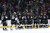 Members of the Los Angeles Kings celebrate after a game against the New York Rangers at STAPLES Center on March 17 2016 in Los Angeles California