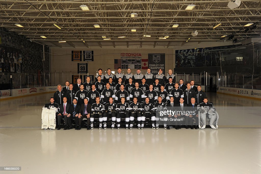Members of the Los Angeles Kings pose for the official 2012-2013 team photograph at Toyota Sports Center in El Segundo, CA on April 20, 2013.