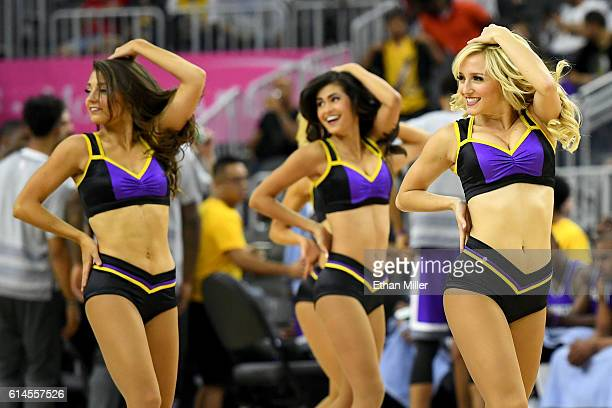 Members of the Los Angeles Laker Girls cheerleaders perform during the team's preseason game against the Sacramento Kings at TMobile Arena on October...