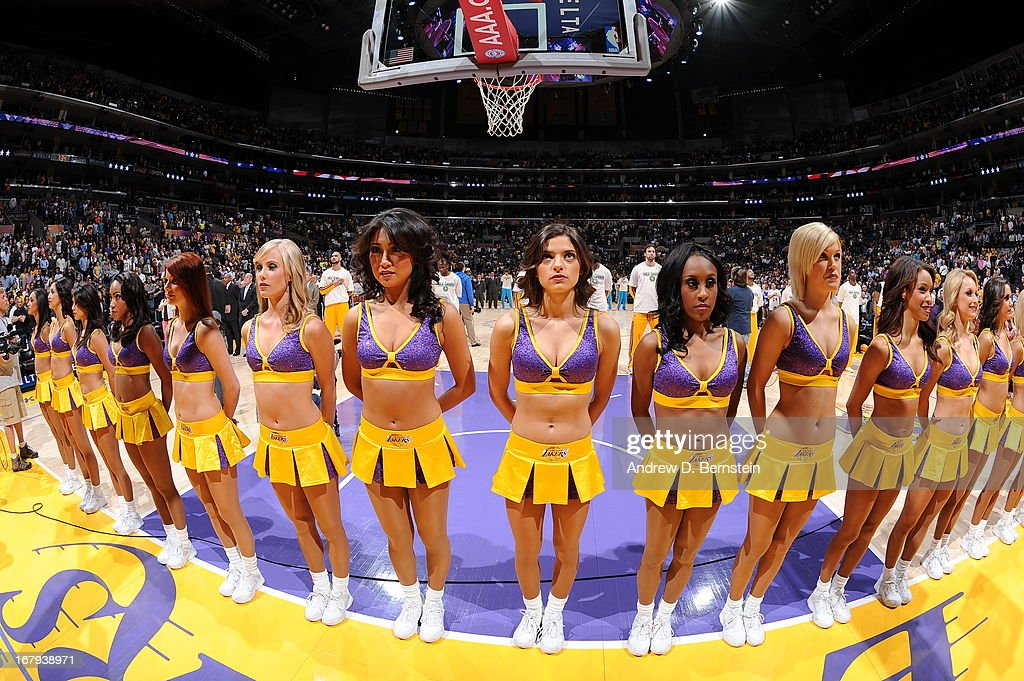 Members of the Los Angeles Lakers Dance Team against the New Orleans Hornets at Staples Center on April 9, 2013 in Los Angeles, California.