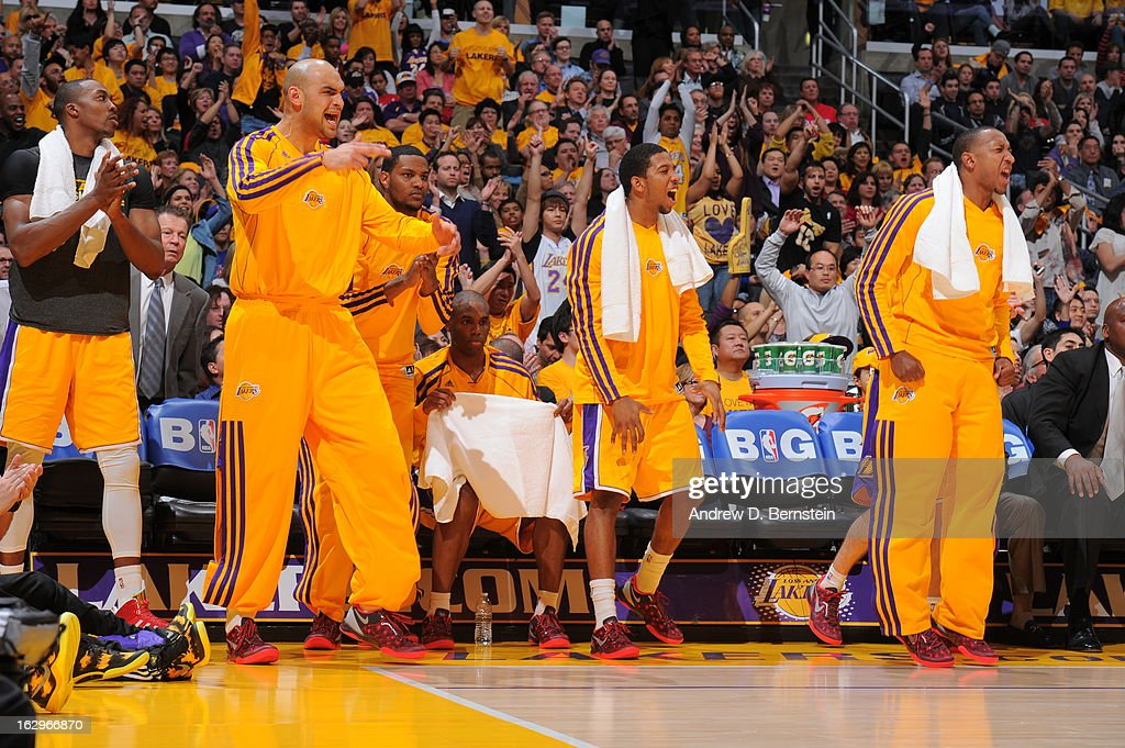 Members of the Los Angeles Lakers react after a pla against the Los Angeles Clippers at Staples Center on February 14, 2013 in Los Angeles, California.