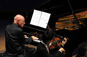 Members of the Los Angeles Philharmonic and Christoph Eschenbach on piano perform Dvorak's Piano quintet in A major Op 81 at Disney Hall in May 28th...