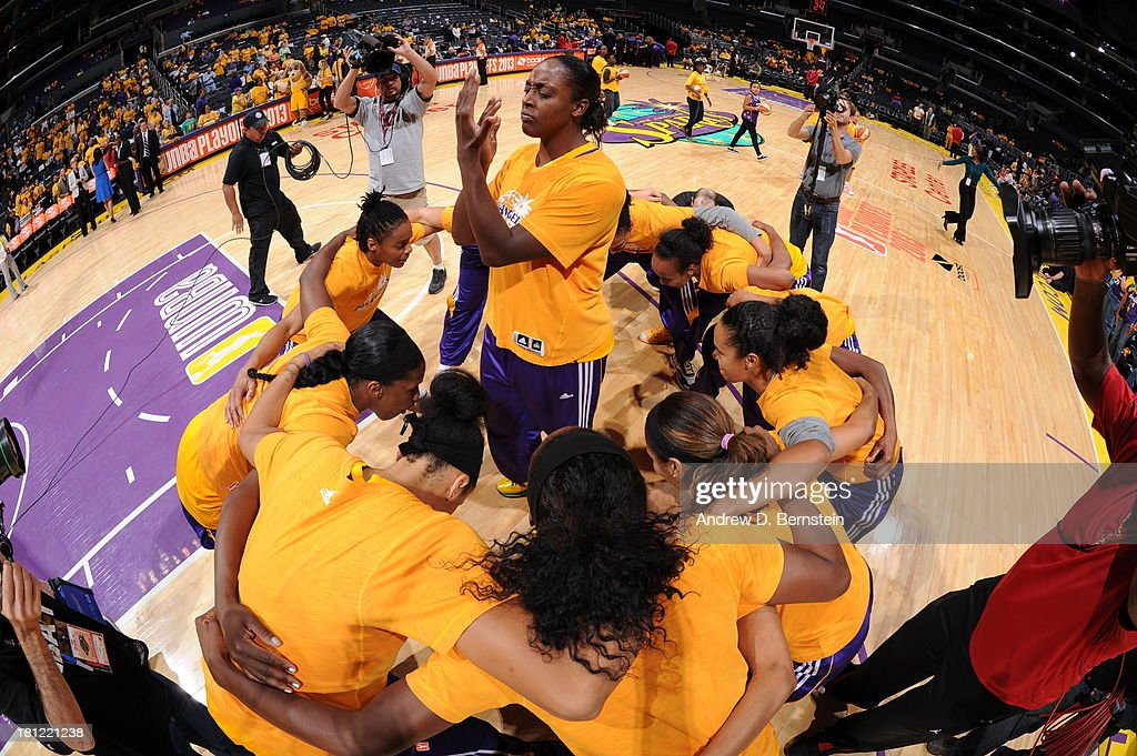 Members of the Los Angeles Sparks huddle prior to a game against the Phoenix Mercury at STAPLES Center on September 19, 2013 in Los Angeles, California.