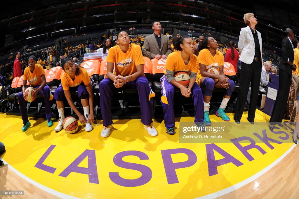 Members of the Los Angeles Sparks sit on the bench prior to a game against the Phoenix Mercury at STAPLES Center on September 19, 2013 in Los Angeles, California.