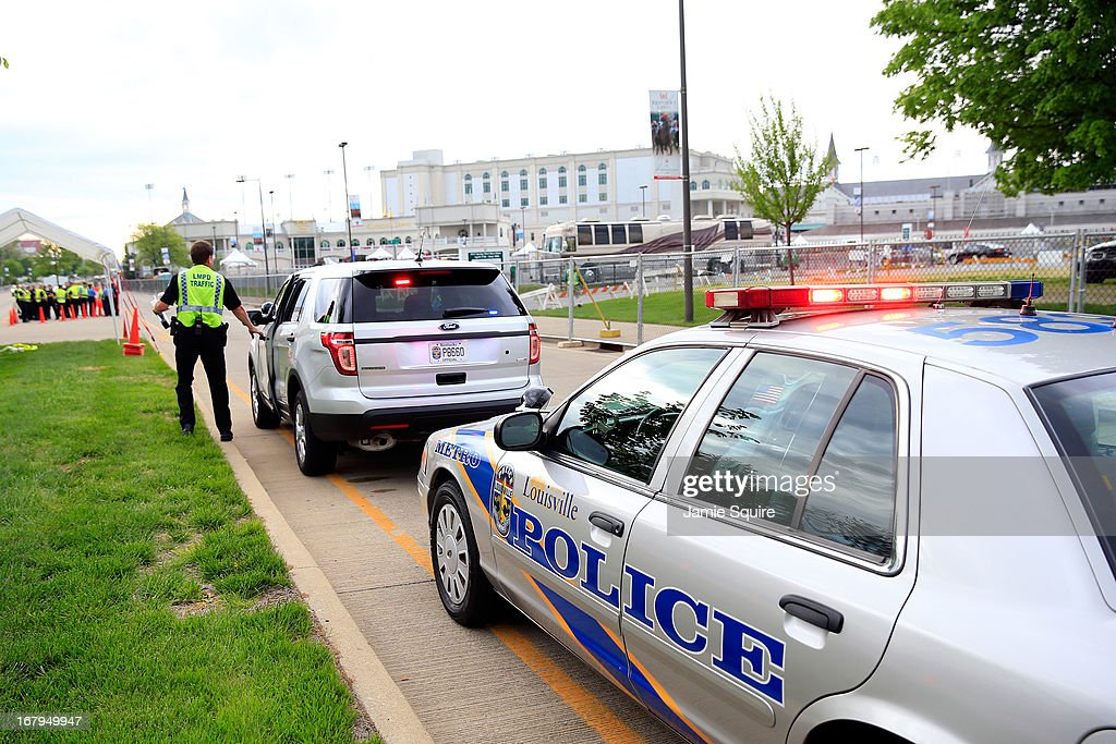 Members of the Lousiville Police Department gather outside of Churchill Downs prior to the Kentucky Oaks on May 3, 2013 in Louisville, Kentucky.