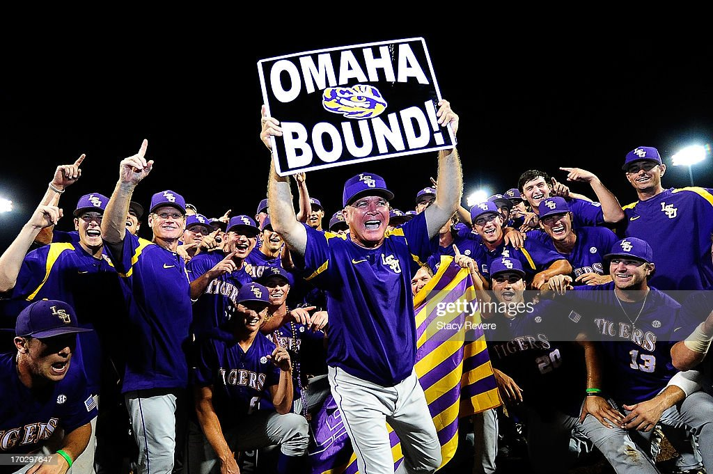 Members of the LSU Tigers celebrate a victory over the Oklahoma Sooners following game 2 of the NCAA baseball Super Regionals at Alex Box Stadium on June 8, 2013 in Baton Rouge, Louisiana.