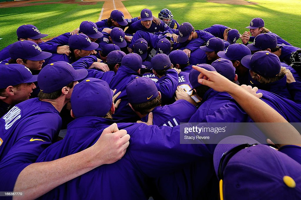 Members of the LSU Tigers gather together prior to a game against the Florida Gators at Alex Box Stadium on May 3, 2013 in Baton Rouge, Louisiana.