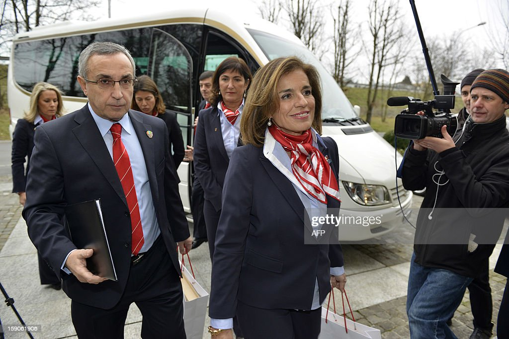 Members of the Madrid's bid delegation CEO Alejandro Blanco (L) and Mayor of Madrid Ana Botella arrive on January 7, 2013 prior to the delivery of the candidature projects at the headquarters of the International Olympic Committee in Lausanne. The three candidate cities to host the 2020 Olympics, Istanbul, Madrid and Tokyo, have taken a huge step on the road to who will be designated the winner in Buenos Aires on September 7 when they presented their candidature files to the International Olympic Committee today in Lausanne. AFP PHOTO / SEBASTIEN FEVAL