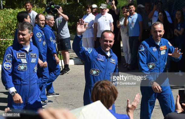 Members of the main crew of the 52nd expedition to the International Space Station ESA astronaut Paolo Nespoli NASA astronaut Randy Bresnik Russian...